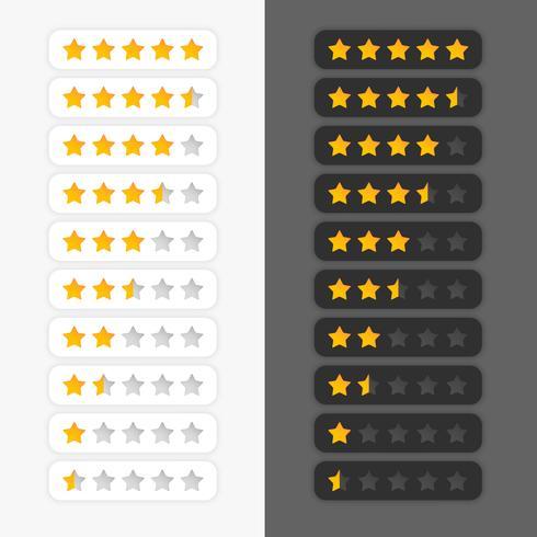 conjunto de símbolos de calificación de estrellas