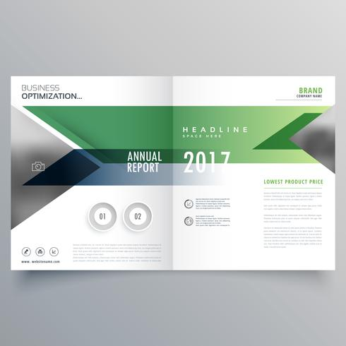 green geometric bi fold business brochure design template