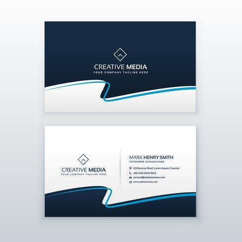 modern blue wavy business card vector design