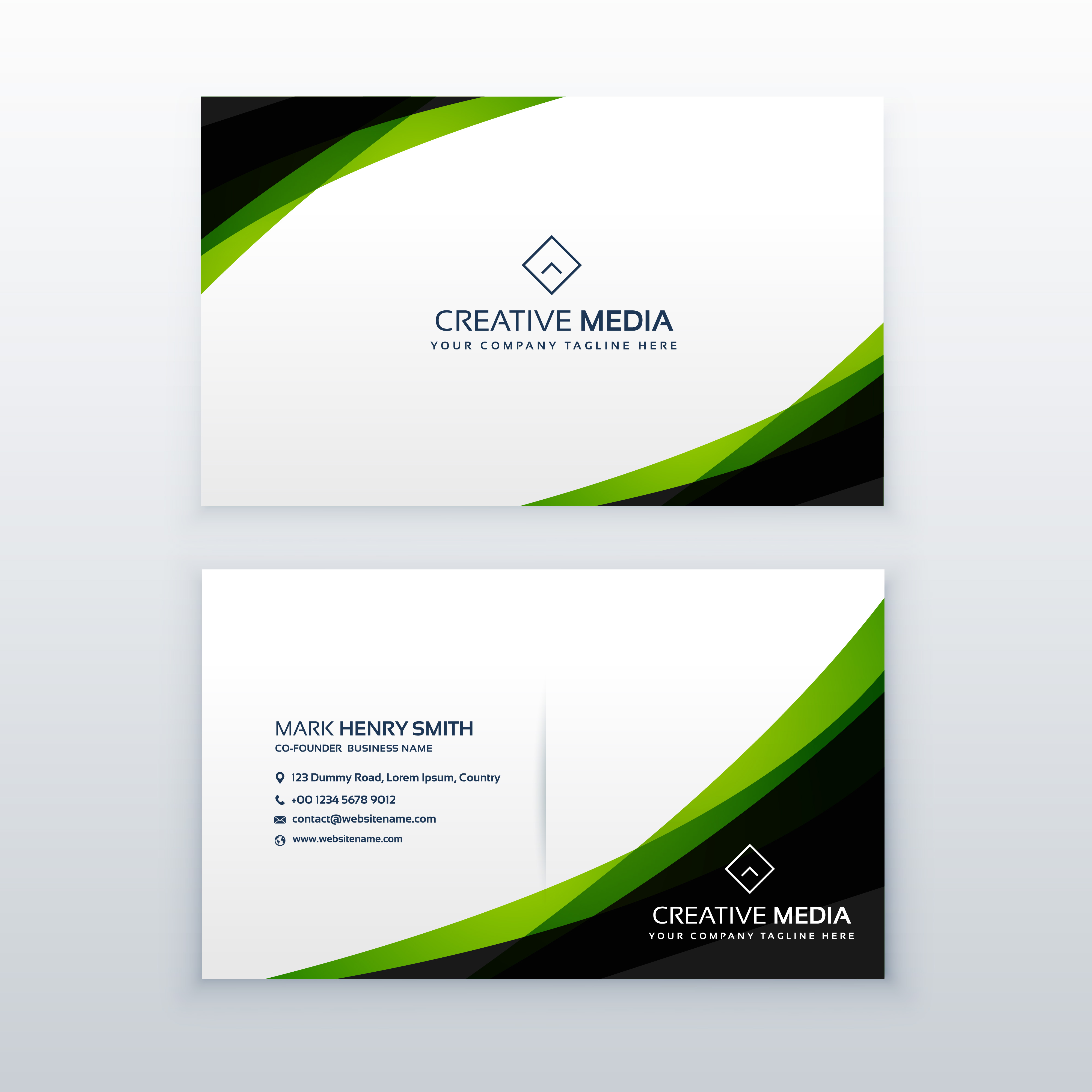 Clean Simple Green Business Card Design Template