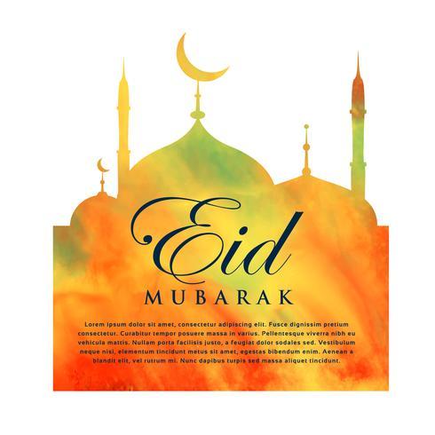 orange mosque silhouette for eid mubarak
