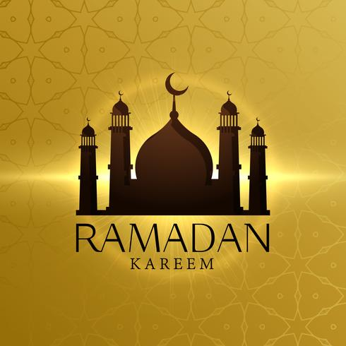 beautiful ramadan kareem background with mosque silhouette