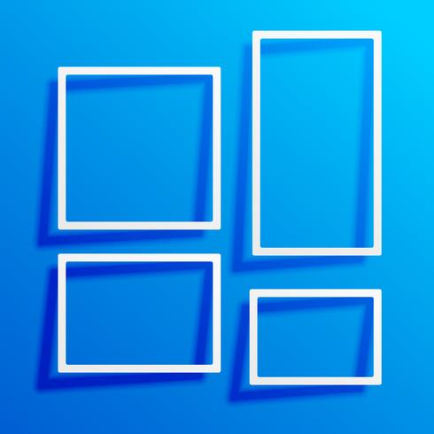 blue background with white border frames
