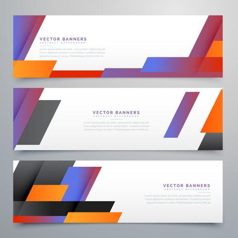 colorful geometric banners set background