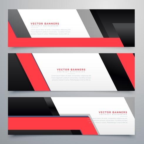 red black geometric banners set background