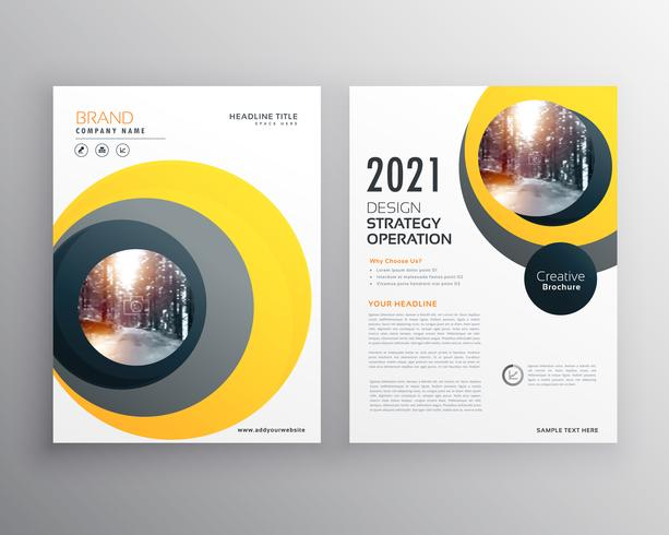 elegant yellow business brochure template design with circle sha