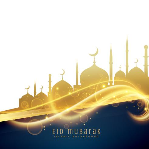 awesome eid festival greeting design with golden mosque and ligh