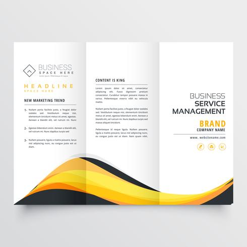 abstract yellow and black wave trifold brochure design