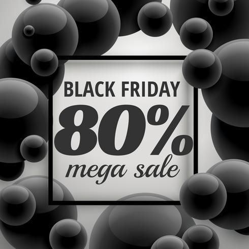 black friday offer sale poster template with black bubbles