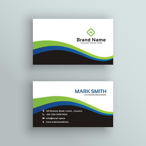 elegant business card design in green and blue wavy shape