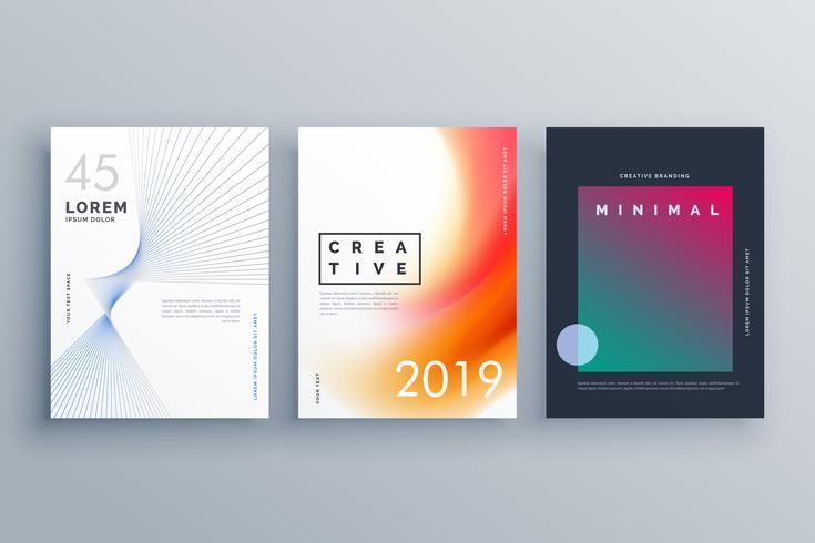 Plantilla de portada en estilo minimalista con formas de líneas abstractas y co