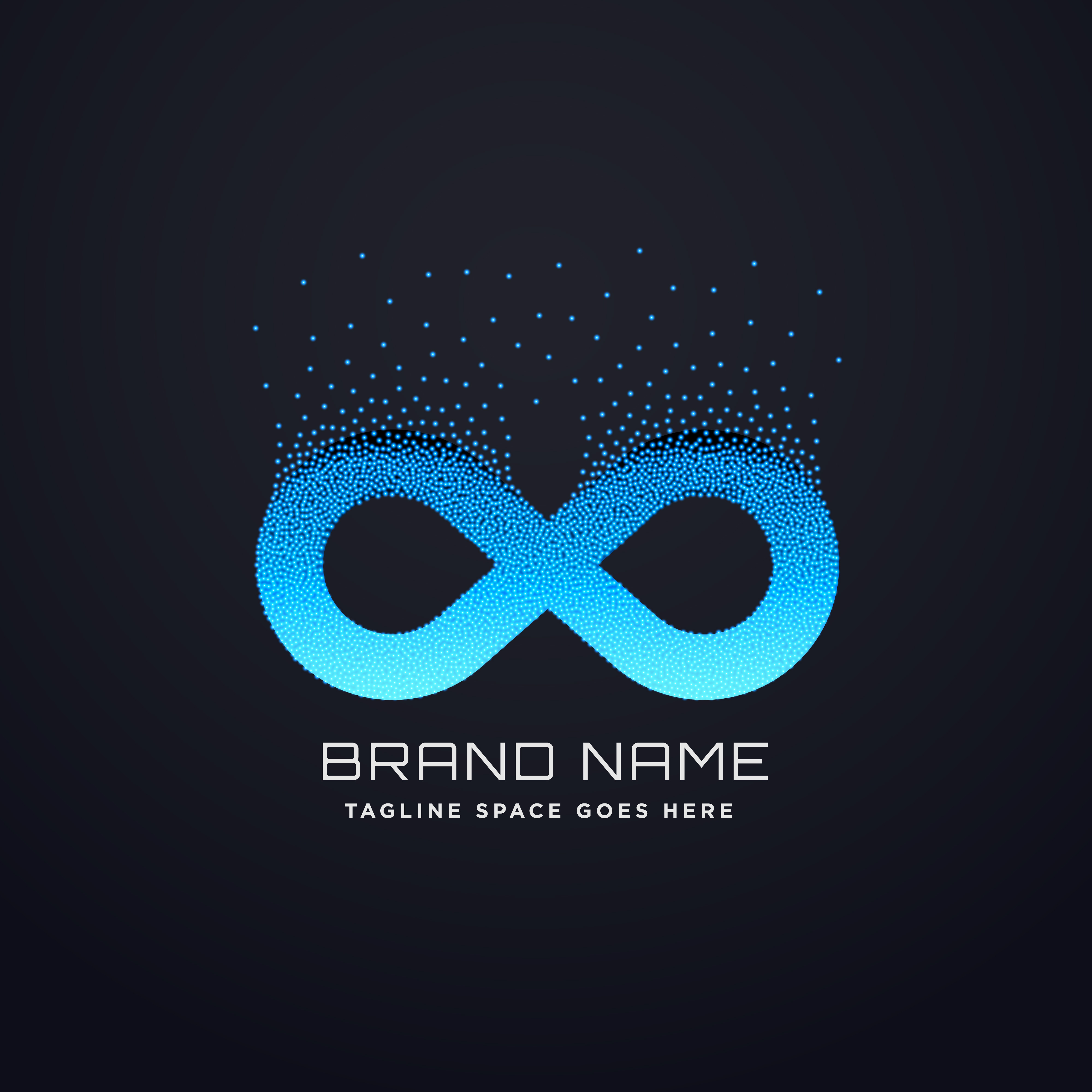 Abstract Logotype Collection: Digital Infinity Logo Design With Florating Particles