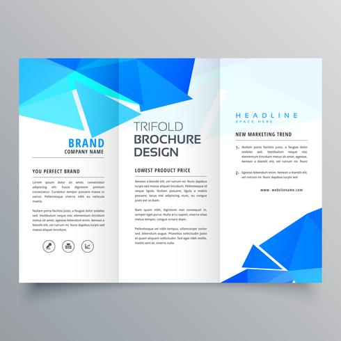 abstract geometric blue shapes trifold brochure template