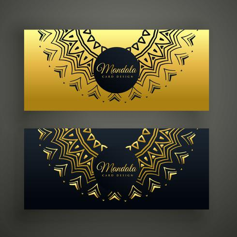 black and golden mandala decoration banner design background