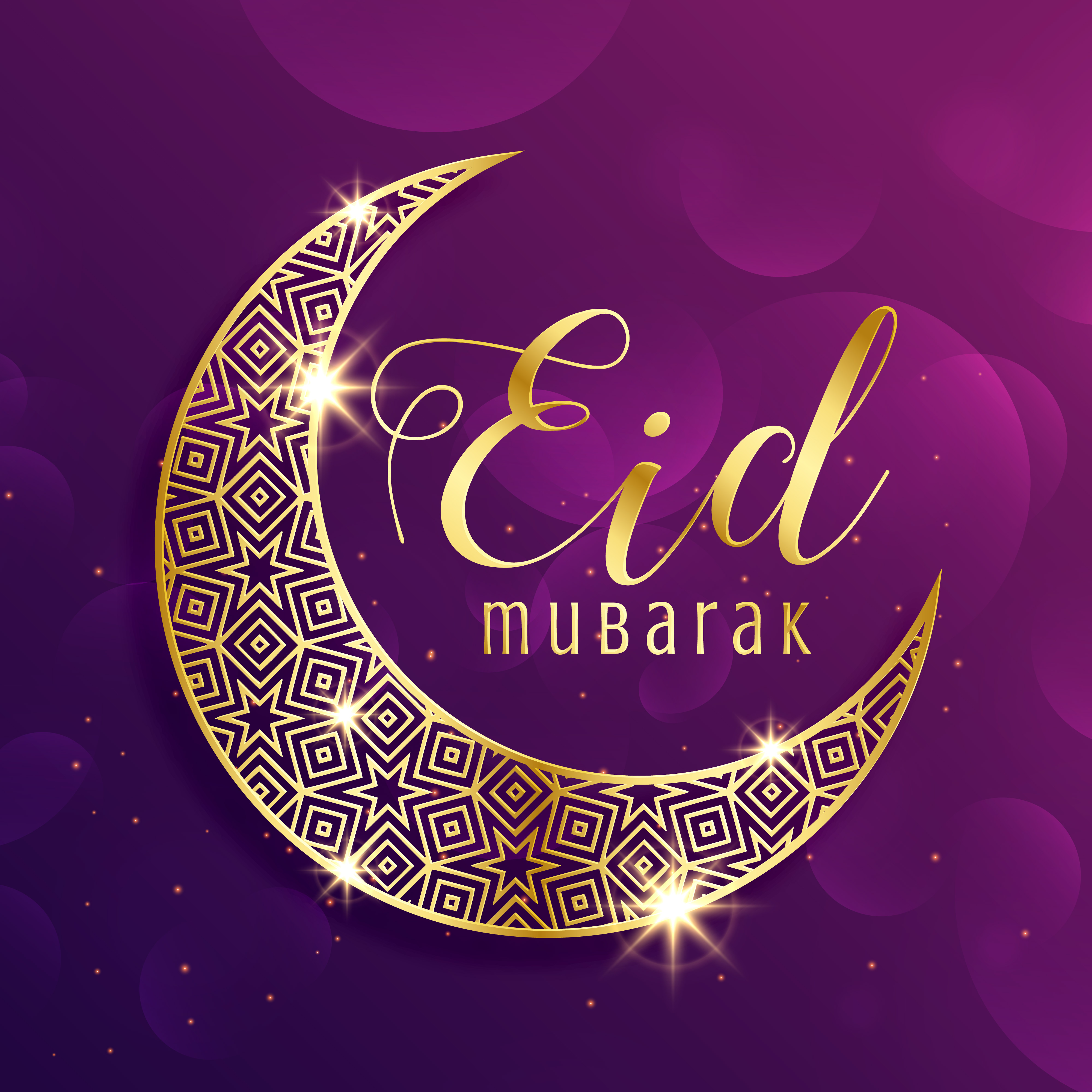 beautiful gold moon eid mubarak festival greeting background - Download Free Vector Art, Stock ...