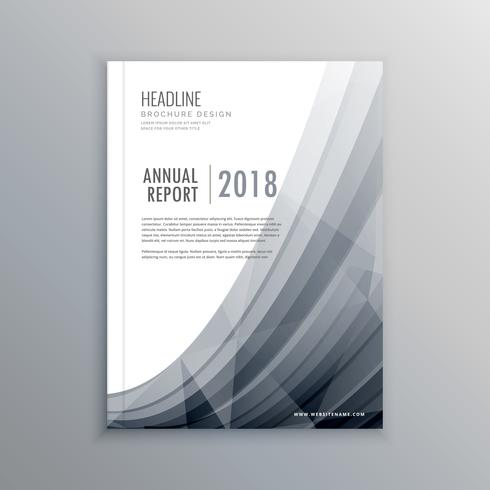 business annual report brochure design template with gray wave
