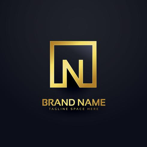 logo design for letter N in golden