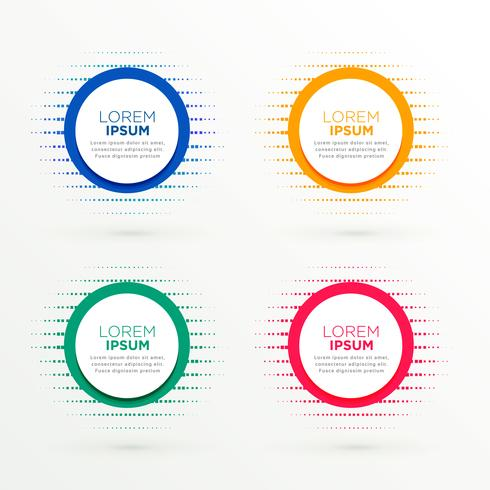 circular banners set in halftone style