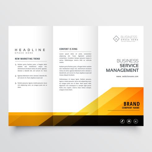abstract orange and black tri fold brochure design corporate bus