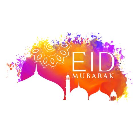 eid mubarak watercolor background with mosque silhouette