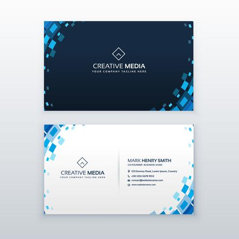 creative blue business card with mosaic elements