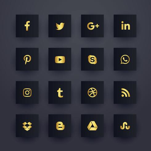 premium dark social media network icons pack