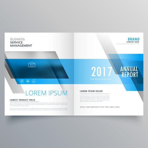 business magazine cover template layout with blue shapes for you