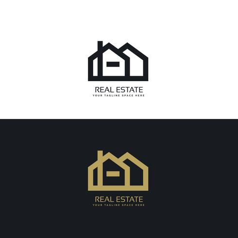 clean line style real estate logo design concept