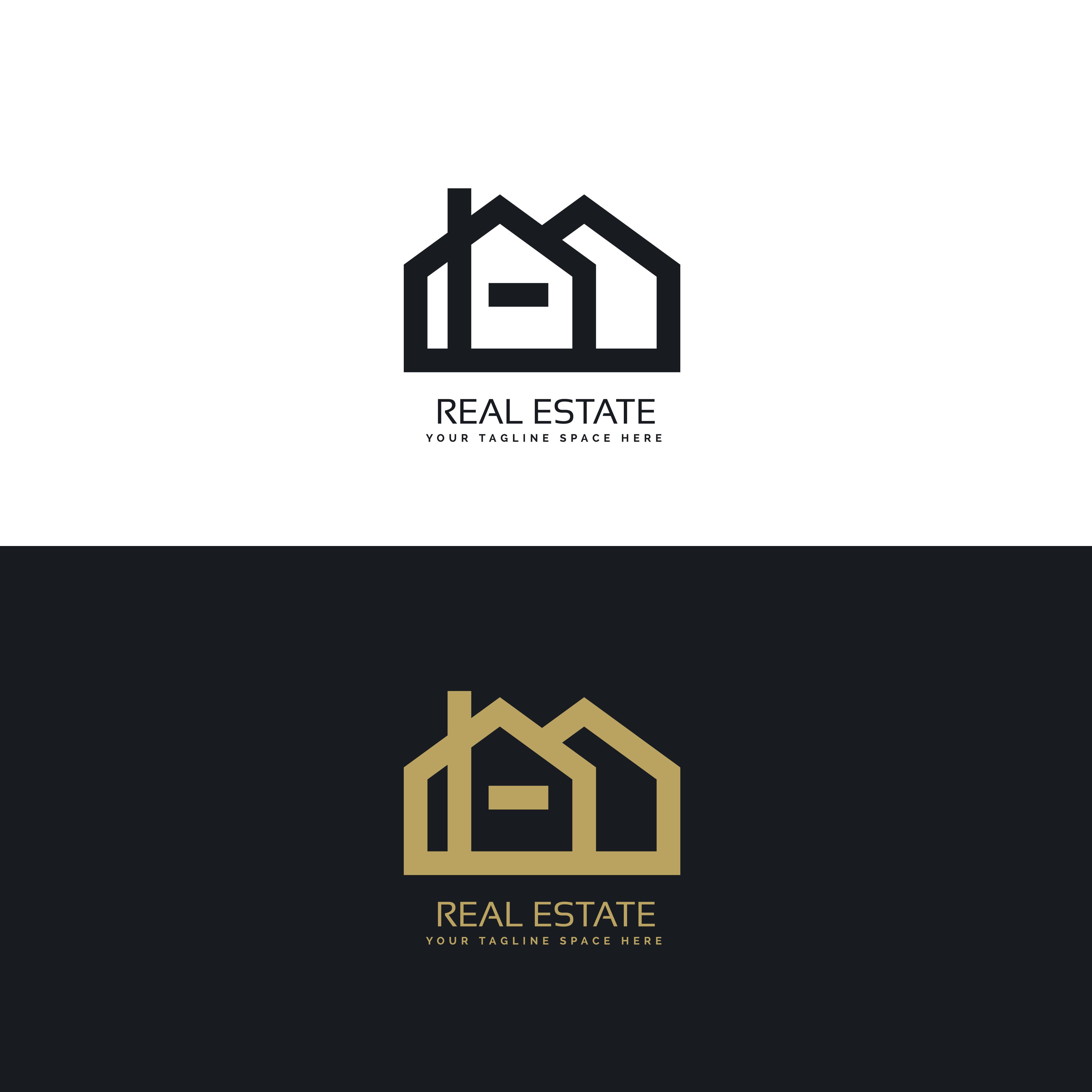 clean line style real estate logo design concept