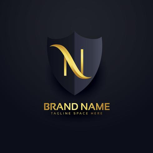 letter n logo in premium style with shield