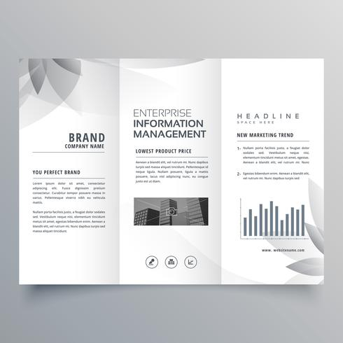 creative trifold brochure template with abstract gray shape
