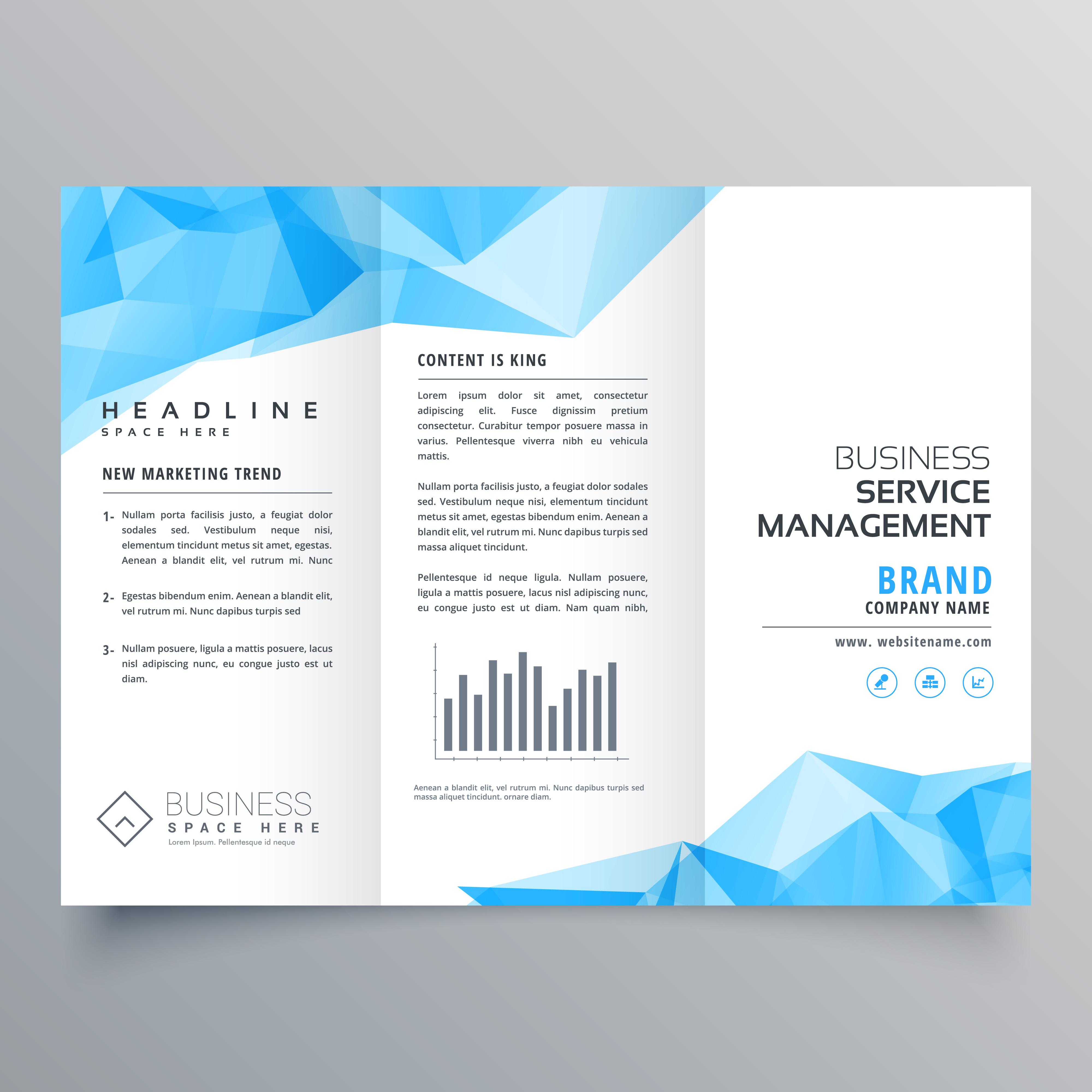 Blue Geometric Trifold Business Brochure Design Template: Abstract Blue Geometric Trifold Brochure Design Template