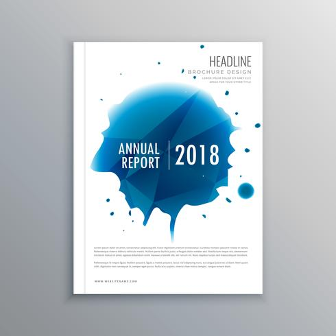 annual report brochure flyer design with blue ink drop