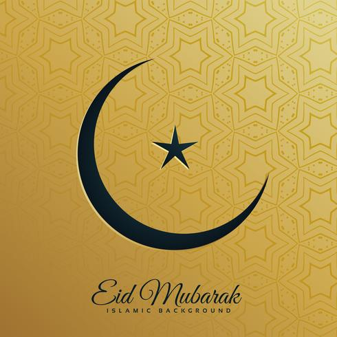 crescent moon and star on golden background for eid festival