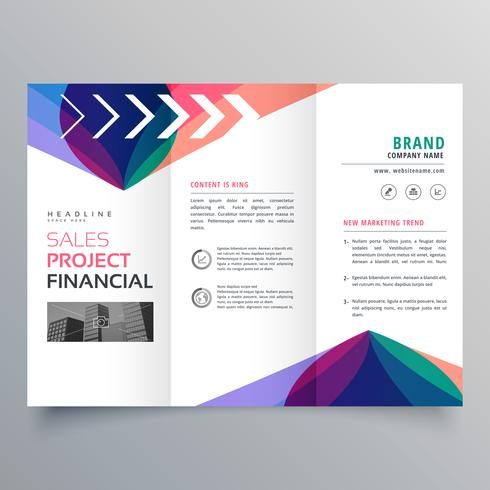 business trifold brochure template with colorful abstract wavy s