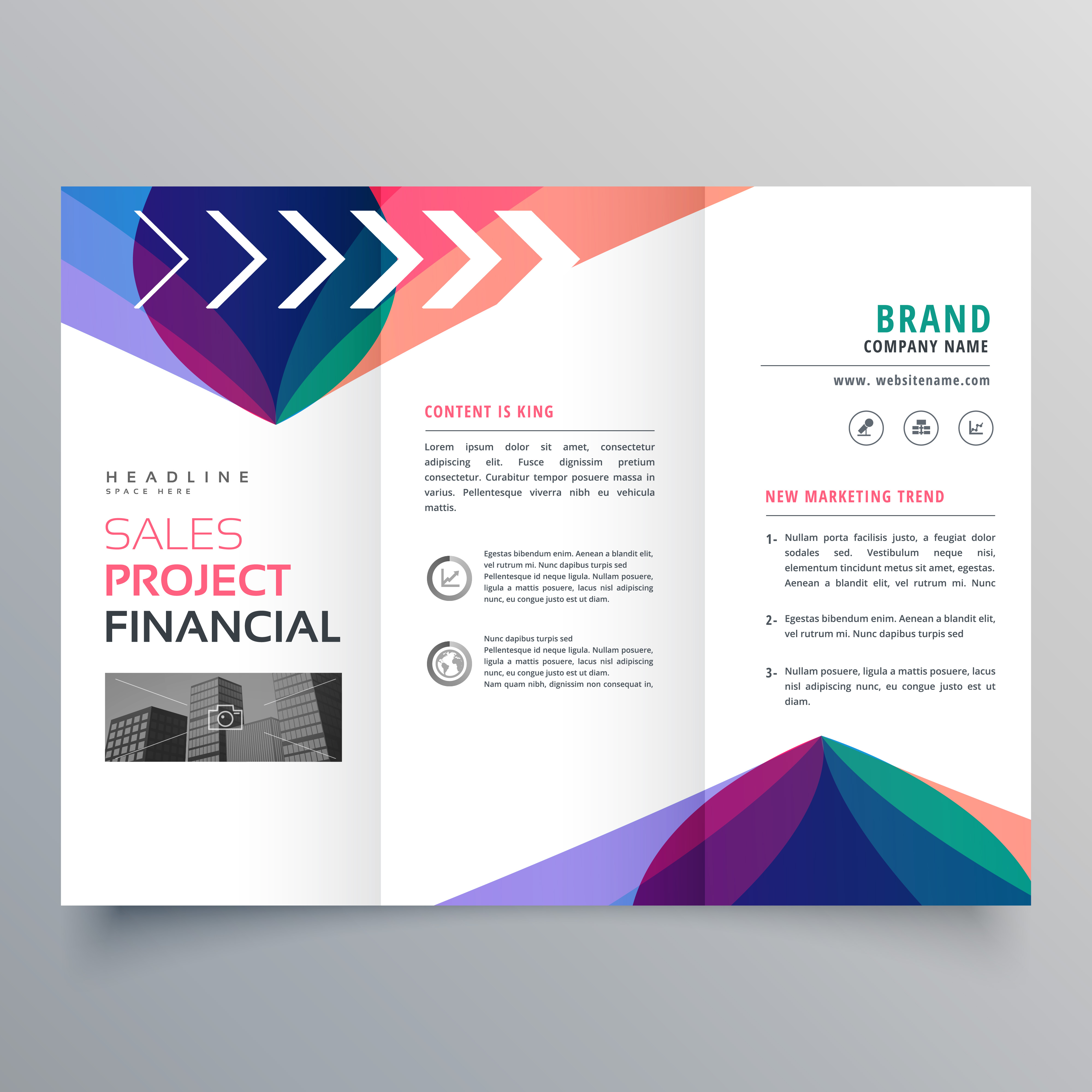 business trifold brochure template with colorful abstract. Black Bedroom Furniture Sets. Home Design Ideas