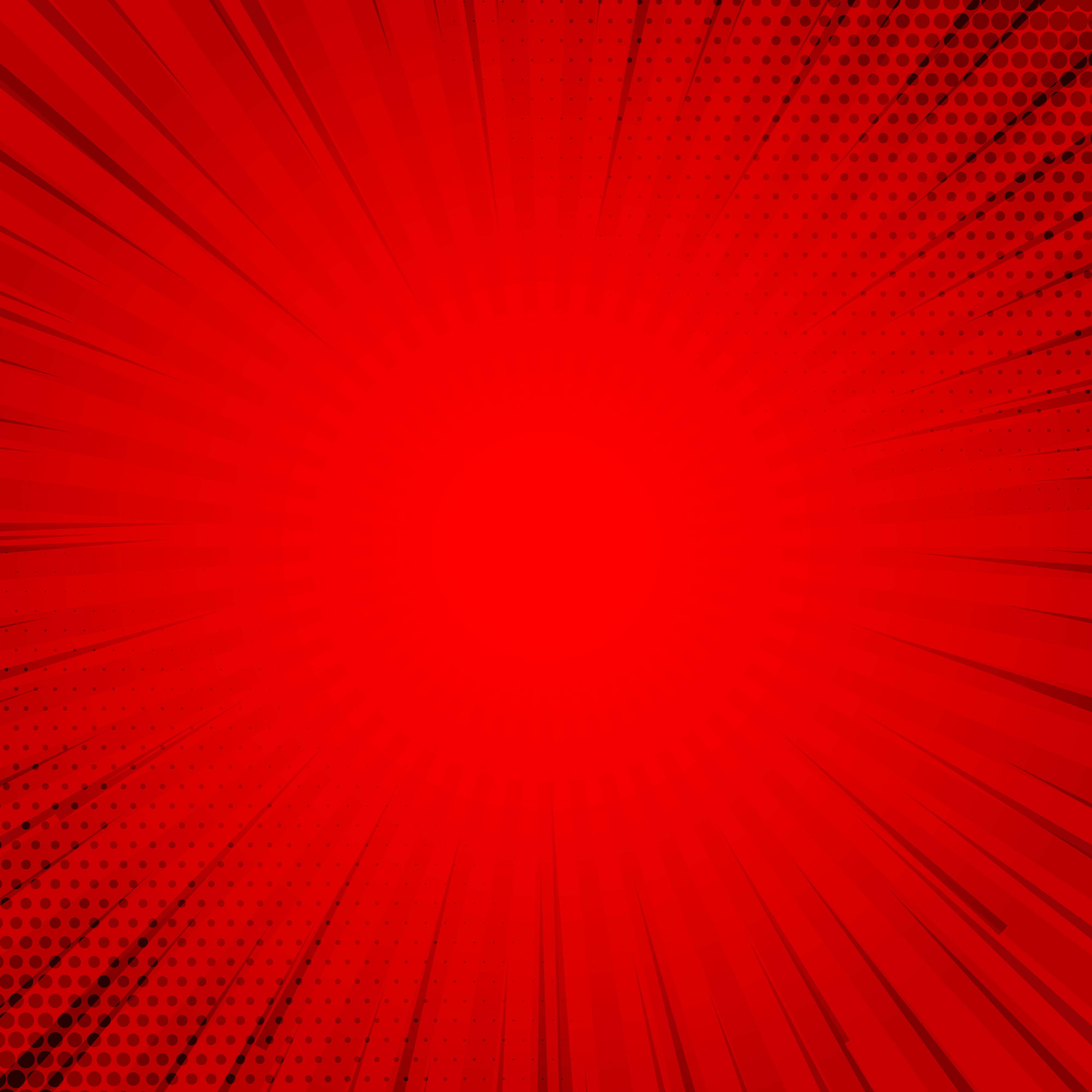 retro red comic background halftone with rays download free vector
