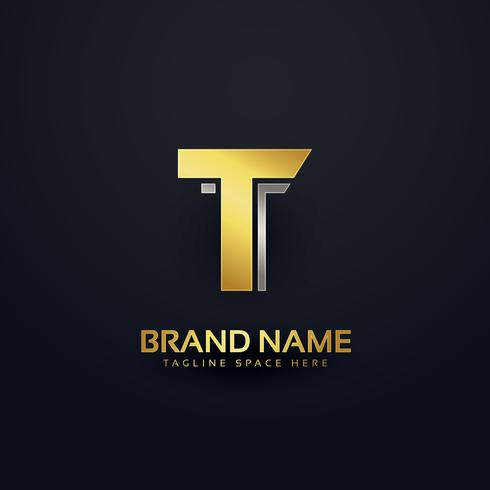 golden letter T logo concept design template