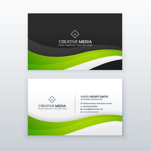 elegant green wave business card vector design