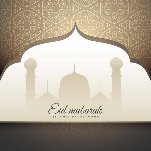 beautiful eid mubrak greeting with mosque shape and islamic patt