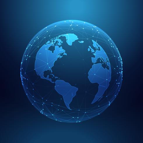 Digitaltechnik Planet Erde innerhalb der Netzwerklinien