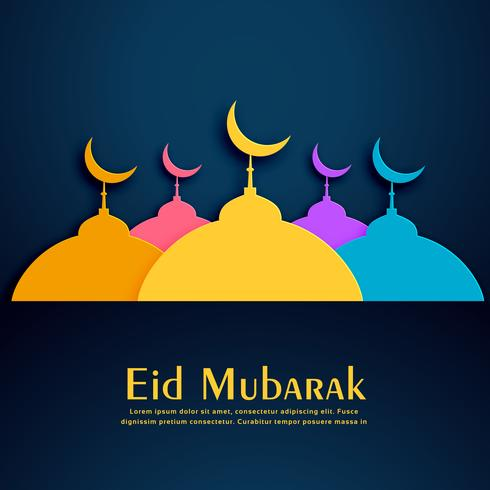 colorful mosques design for eid festival background