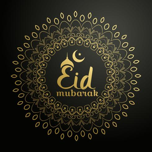 eid mubarak background with golden mandala