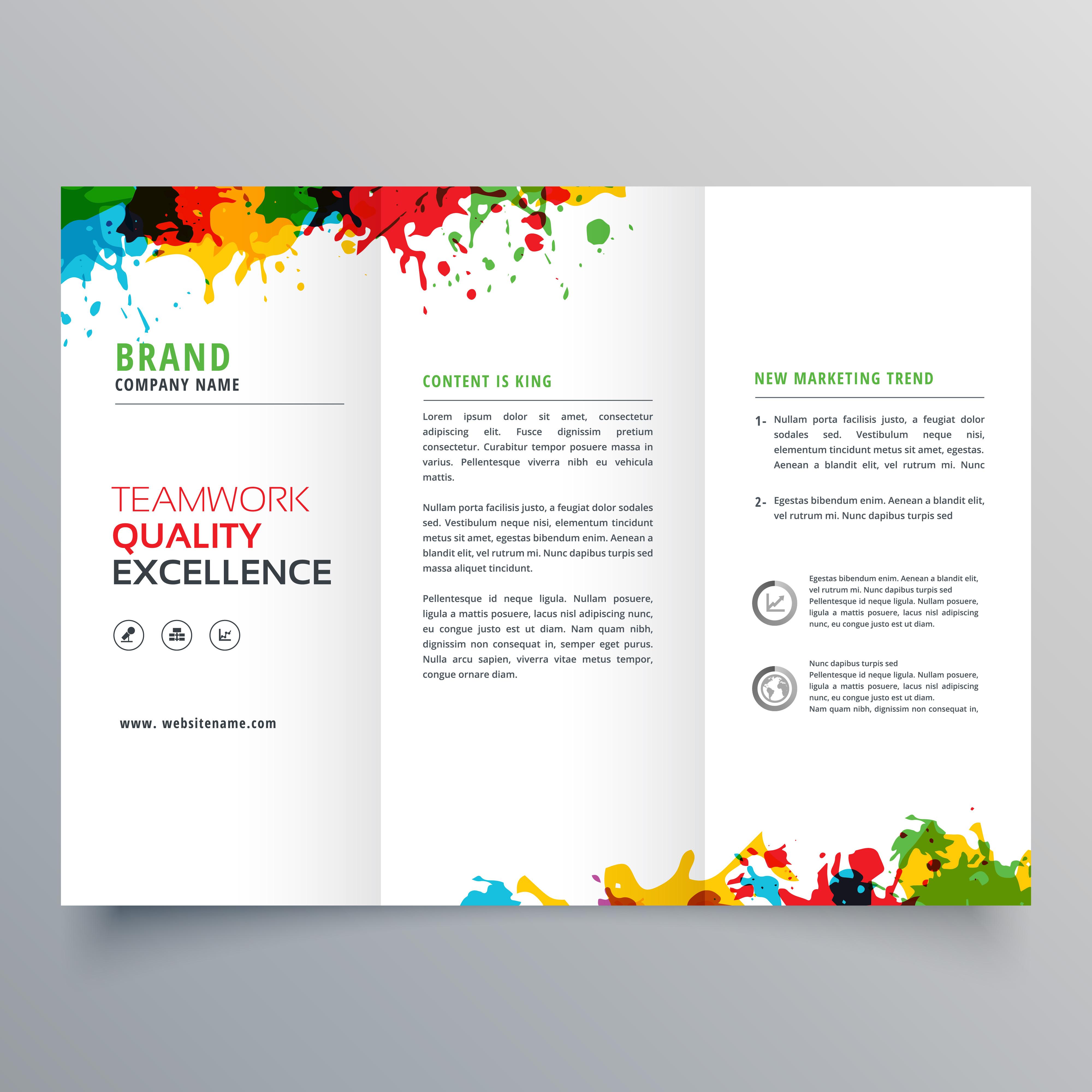 colorful brochure design - colorful ink splatter trifold brochure design download