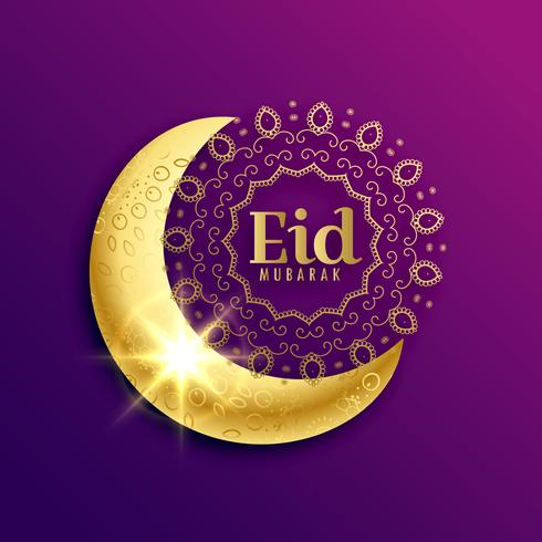 beautiful golden moon for eid mubarak muslim festival