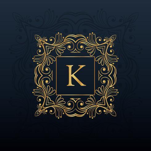 Diseño clásico monograma floral para logotipo de la letra K