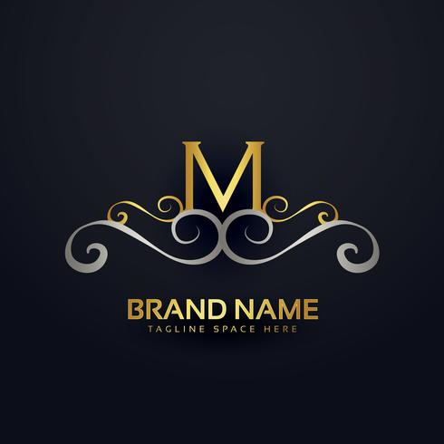 premium letter M logo design with floral effect