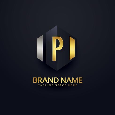 modelo de design de logotipo de letra premium P