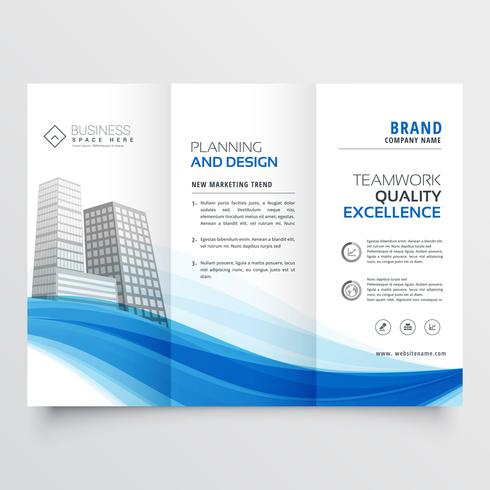 modern trifold brochure design layout template with blue wave