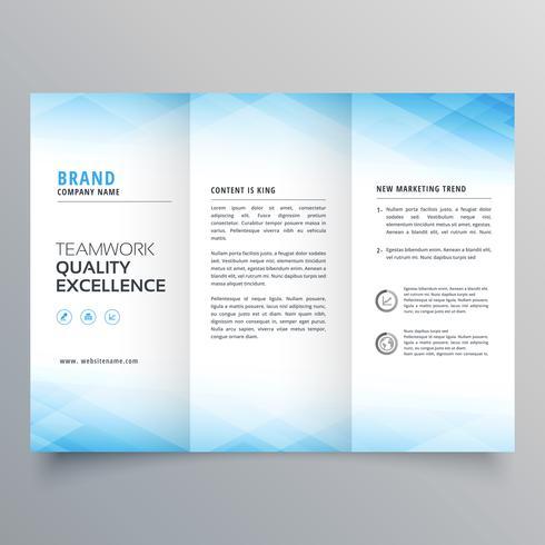 elegante blauwe driebladige brochure folder ontwerpsjabloon